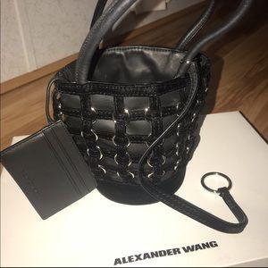 Alexander Wang Roxy Velvet trimmed ring bucketbag